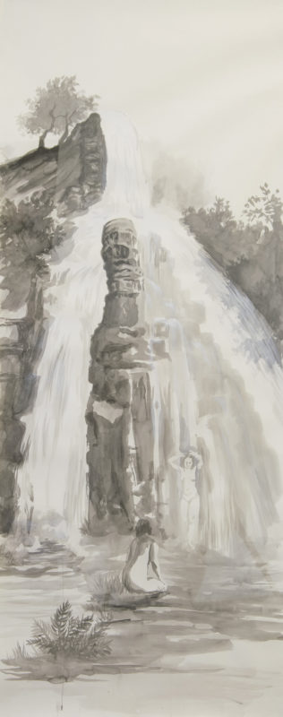 KATHRIN EDWARDS-cascade Tusche auf Papier 70x177cm 2018 316x800